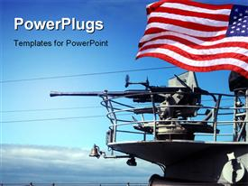 PowerPoint template displaying stock depiction of weapons on a navy ship in the background.