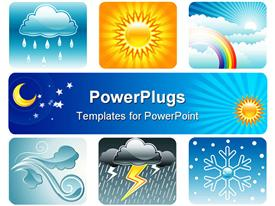 Set of Weather and Climate illustration layered template for powerpoint