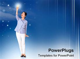 PowerPoint template displaying beautiful Asian-American woman holding sparkling email symbol