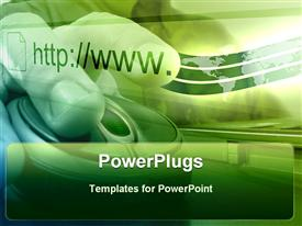 PowerPoint template displaying depiction of green background with human hands on a mouse