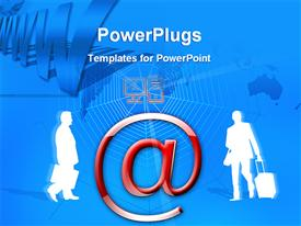 PowerPoint template displaying two human characters holding briefcases and a large @ symbol