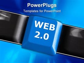 PowerPoint template displaying a keyboard button with bluish background and place for text