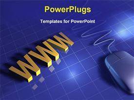 PowerPoint template displaying gray computer mouse next to gold WWW