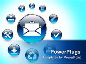 PowerPoint template displaying web icons for business and office blue aqua