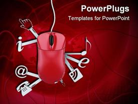 PowerPoint template displaying a mouse with various signs along with red background