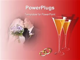 PowerPoint template displaying married couple kissing next to two champagne glasses and two gold rings