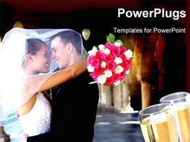 PowerPoint template displaying newly consummated wedding with couple hugging and glass of wine