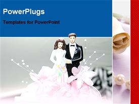 PowerPoint template displaying beautiful wedding cake in the background.