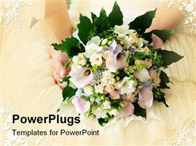PowerPoint template displaying bridal bouquet in the hands of the bride in the background.