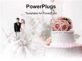 PowerPoint template displaying bride and groom wedding cake decoration in the background.