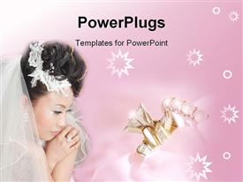 PowerPoint template displaying asian bride with wedding rings and stars on gradient bright pink background
