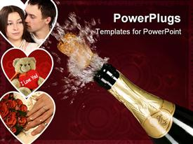 PowerPoint template displaying explosion of green champagne bottle cork on background