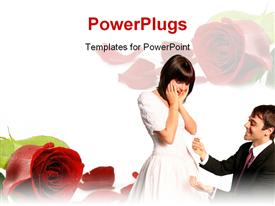 PowerPoint template displaying handsome groom with a proposal for marriage and a beautiful shocked bride in her bridal dress in the background.