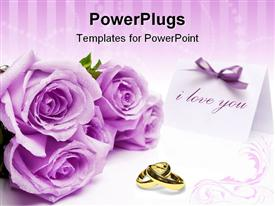 Purple roses and blank invitation card with a bow template for powerpoint