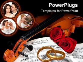 PowerPoint template displaying sheet music of the Wedding March with roses and violin