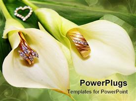 PowerPoint template displaying two white lilies with gold and diamond crested rings inside
