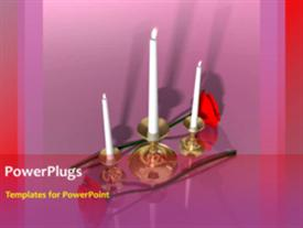 PowerPoint template displaying animated wedding depiction with three burning candles and red rose