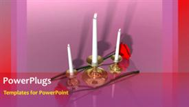 PowerPoint template displaying animated wedding depiction with three burning candles and red rose - widescreen format