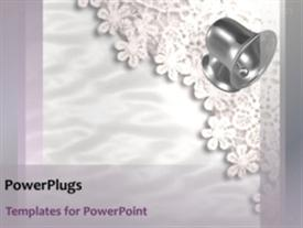 PowerPoint template displaying twenty one seconds video of moving wedding bells on white lace