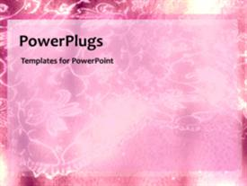PowerPoint template displaying animated wedding depiction with pink flowery theme