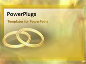PowerPoint template displaying animated wedding depiction with two gold bangles on cool background