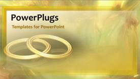 PowerPoint template displaying animated wedding depiction with two gold bangles on cool background - widescreen format