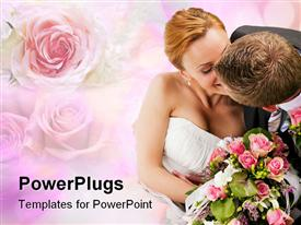 PowerPoint template displaying wedding couple hugging and kissing, the bride holding a bouquet of flowers in her hand