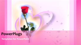 PowerPoint template displaying wedding heart background