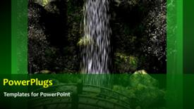 PowerPoint template displaying waterfall with wooden bridge and butterfly flapping wings