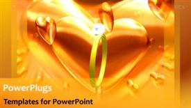 PowerPoint template displaying animated wedding depiction with gold ring and large heart shape - widescreen format