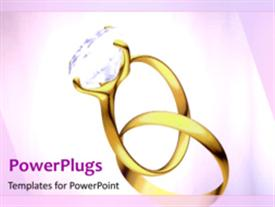 PowerPoint template displaying a diamond ring being placed into another rings with pinkish background