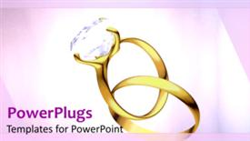 PowerPoint template displaying animated rotating gold and diamond wedding rings