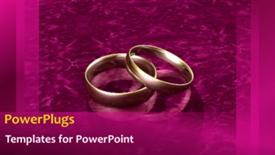 PowerPoint template displaying animated wedding depiction with gold wedding ring on purple bacground - widescreen format