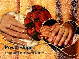 PowerPoint template displaying two pair of hands with newly wed wedding rings