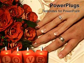 PowerPoint template displaying two hands with engagement ring, wedding bands, burning red candles with word love, bouquet of red roses