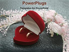 PowerPoint template displaying wedding rings in red box with flowers and pearls, bridal, jewelry