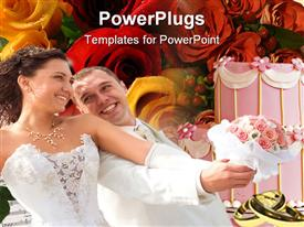 PowerPoint template displaying young couple in wedding wear with bouquet of roses in the background.