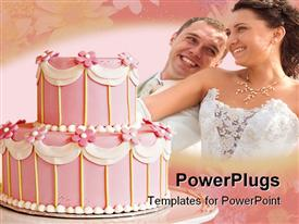 PowerPoint template displaying two tiered Pink wedding cake with white icing in the background.