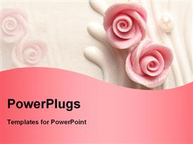 PowerPoint template displaying wedding cake roses in the background.