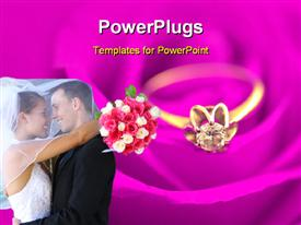 PowerPoint template displaying happy couple hugging with bride holding bouquet and gold ring