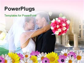 PowerPoint template displaying beautiful bride and handsome groom at church during wedding in the background.