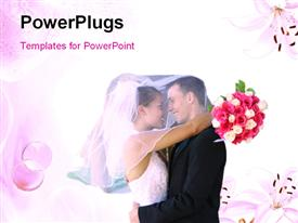 PowerPoint template displaying beautiful couple hugging with bride holding bouquet on colorful background