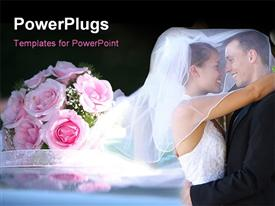 PowerPoint template displaying a wedding couple with a number of flowers in the background