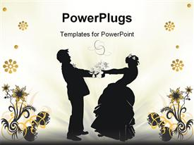 PowerPoint template displaying depiction with wedding couple silhouette in the background.