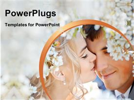 Newly-wed couple kiss in a spring setting powerpoint theme
