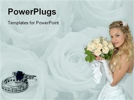 PowerPoint template displaying a girl holding the flower bouqet