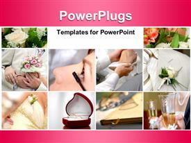 PowerPoint template displaying collage of wedding depictions with flower bouquet and wedding ring