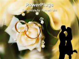 PowerPoint template displaying two golden wedding rings on a white rose and the shade of a kissing couple on an abstract background
