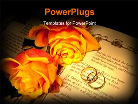 PowerPoint template displaying two wedding rings and roses on a bible with Genesis text