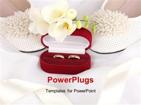 PowerPoint template displaying wedding accessories in the background.